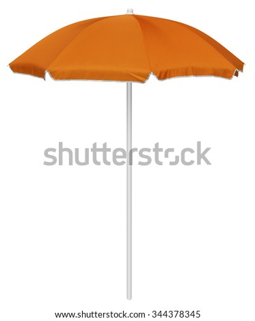 Orange beach umbrella isolated on white. Clipping path included. - stock photo