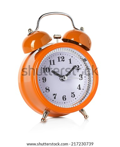 orange bell clock, alarm clock isolated on white background - stock photo