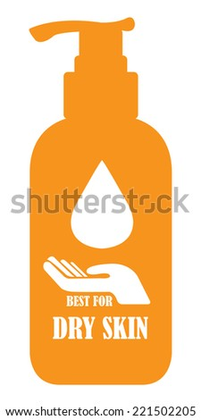 Orange Best For Dry Skin Icon, Label or Cosmetic Container Isolated on White Background  - stock photo
