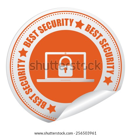 Orange Best Security Sticker, Icon or Label Isolated on White Background  - stock photo