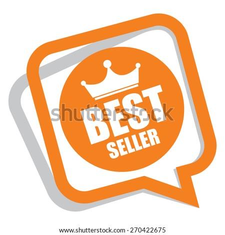 orange best seller speech bubble, speech balloon, sticker, sign, icon, label isolated on white - stock photo