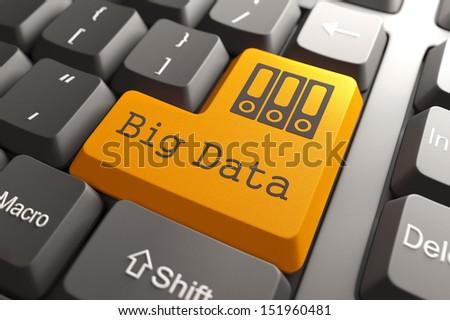 Orange Big Data Button on Computer Keyboard. Information Concept. - stock photo