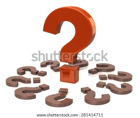 Orange big question mark and small question marks - stock photo