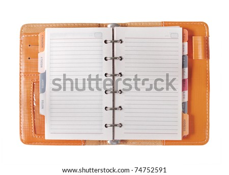 orange binder paper spiral notebooks isolated on white - stock photo