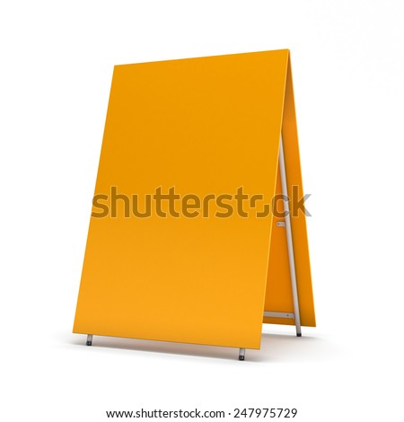 Orange blank billboard for advertising isolated on white background - stock photo