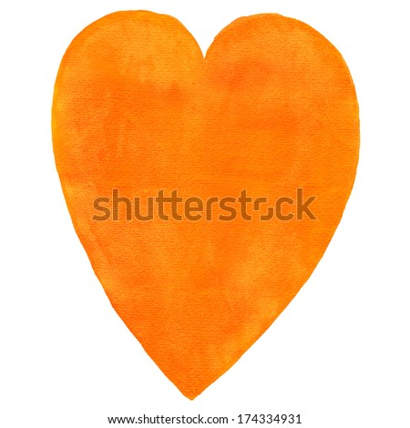 Orange blank watercolor heart on white background. Aquarelle template backdrop created in handmade technique. Colored silhouette shape form isolated of square format size. - stock photo