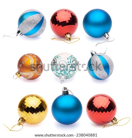 orange, blue, blue-silver, red, yellow, white christmas balls on white background - stock photo