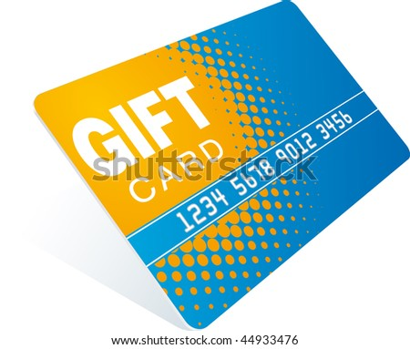 orange-blue gift card - stock photo