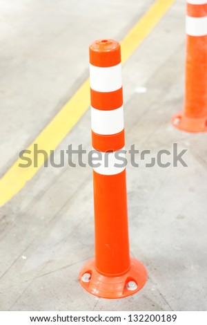Orange Bollard for safety - stock photo