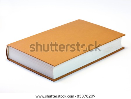 Orange book isolated on white . Clean cover - stock photo