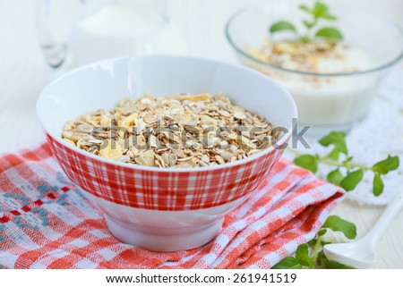 Orange bowl with granola (sunflower seeds, corn, oat and barley flakes and nuts) and homemade yogurt, selective focus - stock photo