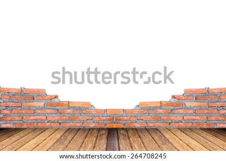 Orange brick surface unfinished white background with wooden flooring, warm brown. masonry and carpentry brickwork concept - stock photo