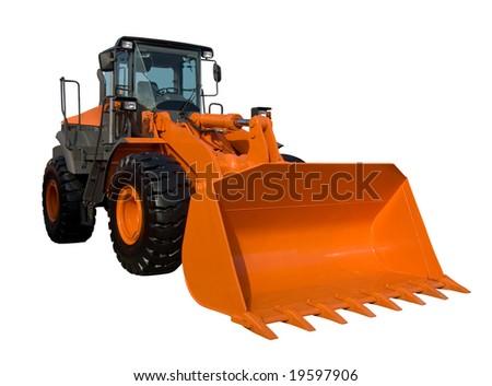 Orange bulldozer isolated on white with clipping path - stock photo