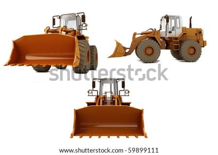 Orange bulldozer on wheels isolated on white - stock photo