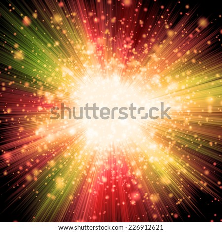 Orange Burst With Sparkles Background - stock photo