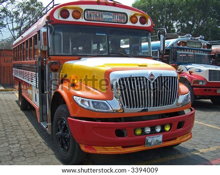 Orange bus. Guatemala - stock photo