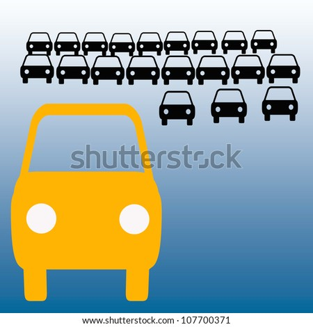 orange bus in crowded parking lot carpool illustration - stock photo
