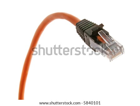 Orange cable with RJ-45 jack closeup view