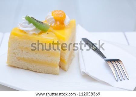 Orange cake toping with fruit