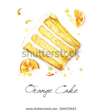 Orange cake - Watercolor Food Collection - stock photo