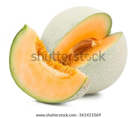 Orange cantaloupe melon isolated on white - stock photo