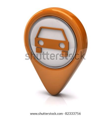 Orange car icon - stock photo