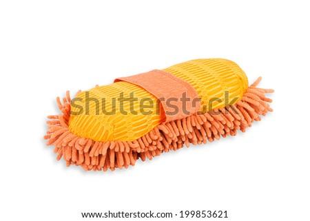 orange car wash glove on white background - stock photo