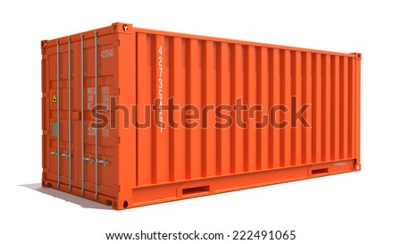 Orange Cargo Container Isolated on White Background.  Shipment Concept. - stock photo