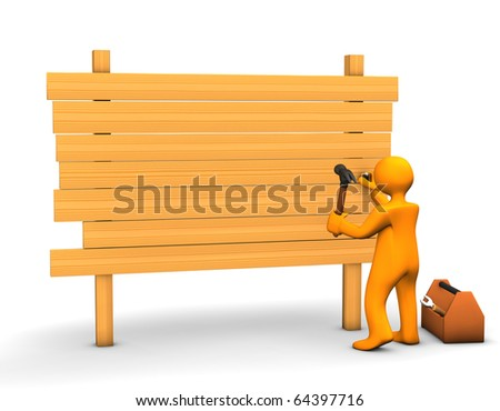 Orange cartoon carpenter with a hammer and lumber isolated on white. - stock photo