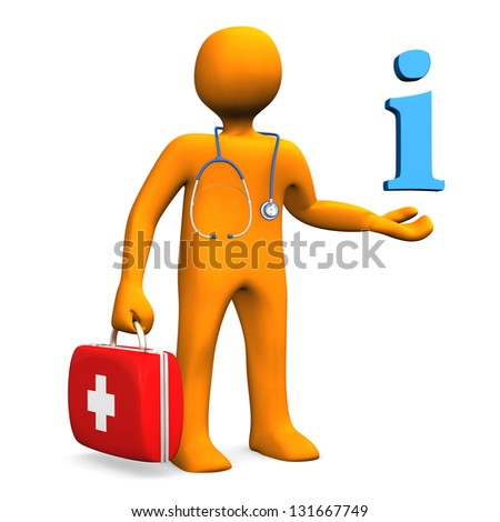 Orange cartoon character as doctor with symbol of information. - stock photo