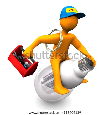 Orange cartoon character as electrician, rides on the LED-Lamp. White background.