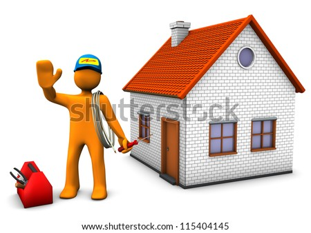 Orange cartoon character as electrician with toolbox and house. White background. - stock photo