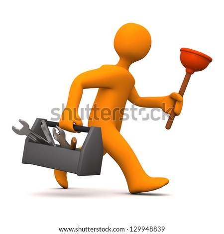 Orange cartoon character as plumber runs. White background. - stock photo