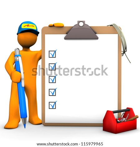 Orange cartoon character as with blue pen, clipboard and tool box. White background. - stock photo