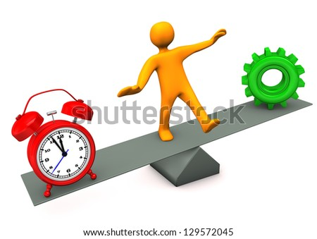 Orange cartoon character between time and precision. - stock photo