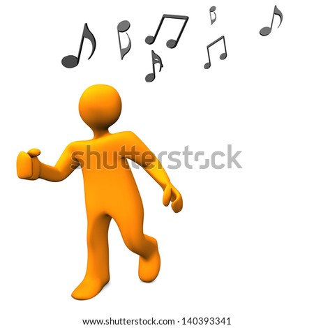 Orange cartoon character dances with music notes. - stock photo