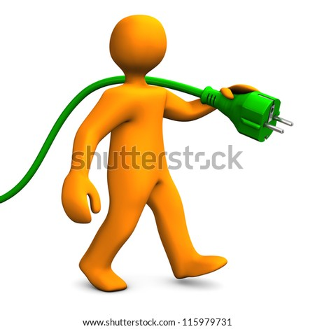 Orange cartoon character goes with green connector. White background. - stock photo