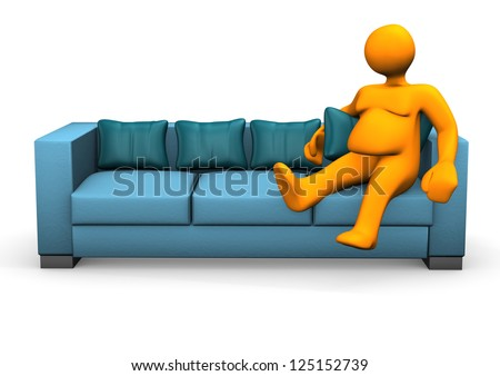 Orange cartoon character is lazy and fat. - stock photo