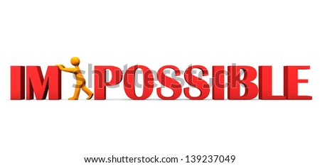 Orange cartoon character makes impossible possible. White background. - stock photo