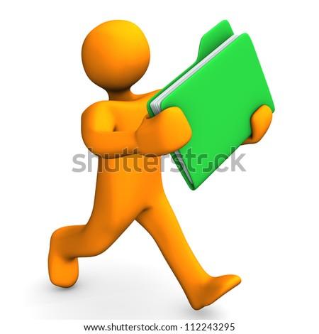 Orange cartoon character runs with a green folder. - stock photo