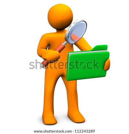 Orange cartoon character search in a green folder. - stock photo