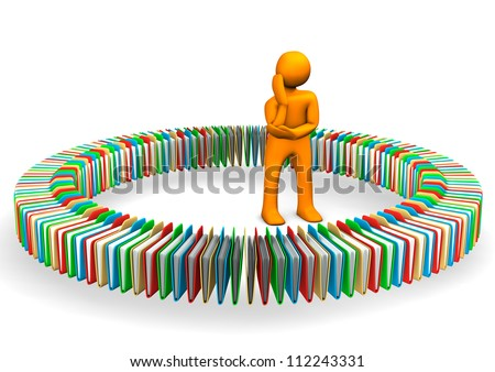 Orange cartoon character search in the folders. - stock photo