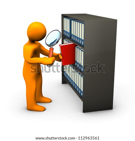 Orange cartoon character searches with the loupe in a red folder. - stock photo