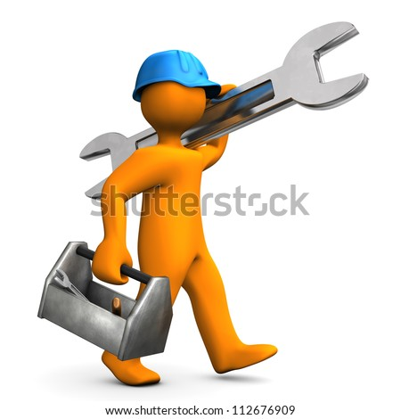 Orange cartoon character walks with big wrench on the white background. - stock photo