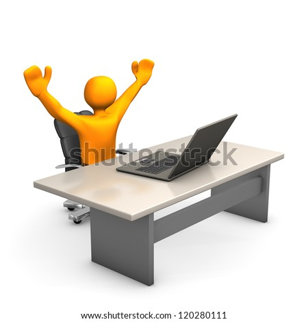 Orange cartoon character win a auction and is happy. - stock photo