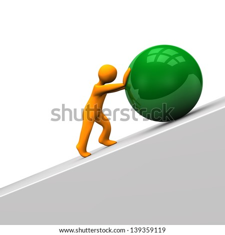 Orange cartoon character with big green sphere. - stock photo