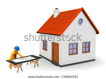 Orange cartoon character with blue helmet, house and construction plan. White background. - stock photo