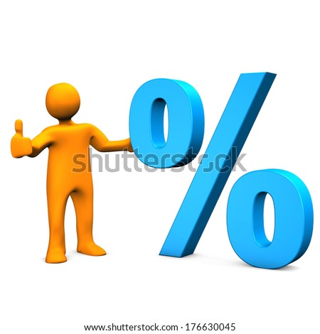 Orange cartoon character with blue symbol of percent. White background. - stock photo