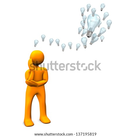 Orange cartoon character with bulbs on the white background. - stock photo