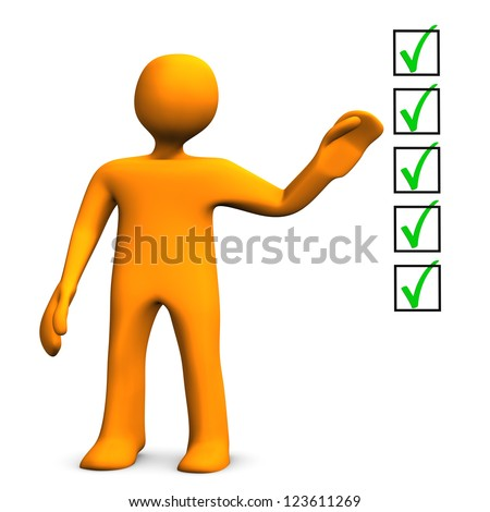 Orange cartoon character with checklist on the white background. - stock photo